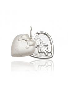Pingente Menina Relicário em Prata (coração)