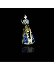 Pingente Nossa Senhora Aparecida com Manto Azul em Prata Banhado a Ouro joia