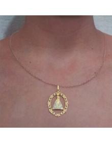 Pingente Nossa Senhora Aparecida de Prata Banhado a Ouro 18k Joia