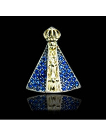 Pingente Nossa Senhora Aparecida com Manto Azul em Prata Banhado a Ouro 18k Joia