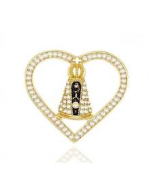 Pingente de Nossa Senhora com Coração Cravejado de Zirconias Semijóia