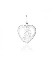 Pingente Nossa Senhora do Carmo com Coração em Prata