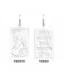 Pingente Masculino de Nossa Senhora do Carmo com Oração Folheado a Prata