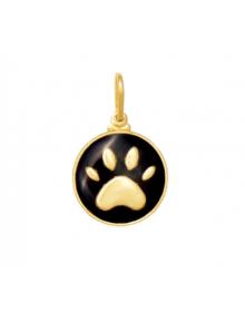 Pingente Patinha de Cachorro Preta Banhada a Ouro 18k - Coleção Pingentes Pet