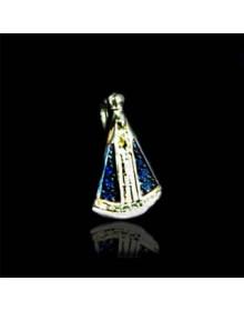 Pingente Pequeno de Nossa Senhora Aparecida em Prata Banhado a Ouro 18k Joia