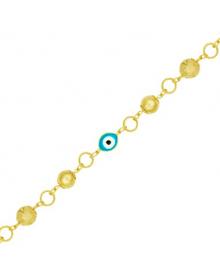 Pulseira Olho Grego Azul Folheada a Ouro Semijóia