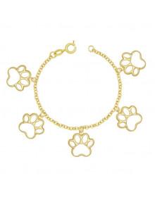 Pulseira de cachorro banhada a ouro - Pulseira feminina semijóia