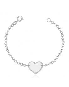Pulseira Feminina de Coração - Joias em Prata