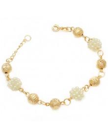 Pulseira femininda dourada com bolinhas banhada a ouro 18k - Pulseira da Moda