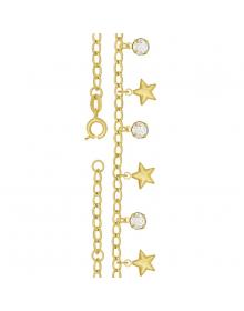Pulseira feminina da moda com estrelas e cristais de strass