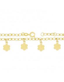 Pulseira infantil feminina dourada banhada a ouro 18k com pingentes de flor - Pulseira da Moda