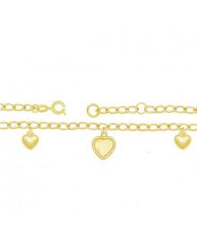 Pulseira Infantil Feminina Dourada Banhada a Ouro 18k com Pingentes de Coração