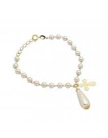 pulseira de perolas delicada com pingente de cruz folheada a ouro