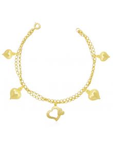 Pulseira Feminina com Pingentes de Coração Folheada a Ouro - Semi joias