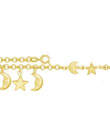 Pulseira Feminina com Pingentes de Luas e Estrelas - Semi Joias