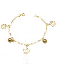 Pulseira Clássica com Coroas e Bolinhas Banhada a Ouro 18k - Pulseiras da Moda