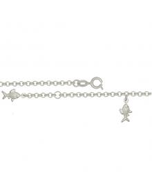 Tornozeleira de Prata Feminina com Pingente de Peixinhos - Joias em Prata 990