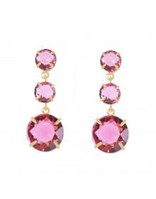 Brincos de Pedras Rosa Pink Folheados Ouro Semi Joias