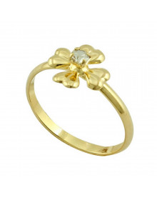 Anel Feminino Infantil Flor - Semi joia banhada a ouro