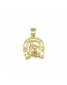 pingente de cavalo e ferradura folheado a ouro - semi joias