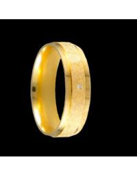 Alianças de Prata Diamantadas 6mm Banhadas a Ouro 18k