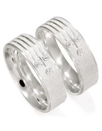 Alianças de Prata 950 Anatômicas Diamantadas com Zircônias 6 mm