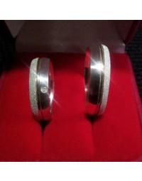 Alianças de Prata Diamantadas com Filete de Ouro - Jóias Boz
