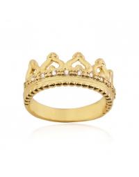 Anel de Coroa com Cristais Folheado a Ouro 18k