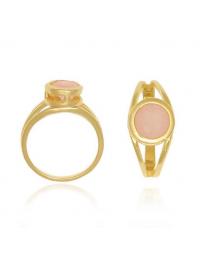 Anel com Pedra Rosa Quartzo Banhado a Ouro 18k