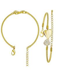 Bracelete com Coração de Zirconias Banhado a Ouro 18k