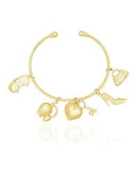 Bracelete Dourado com Pingentes de Moda Semijóia