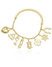Bracelete Dourado da Sorte com Trevo e Figa Folheado a Ouro 18k