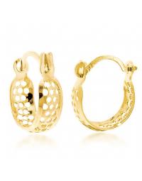 Brincos de Argola Pequena com Bolinhas Folheados a Ouro 18k