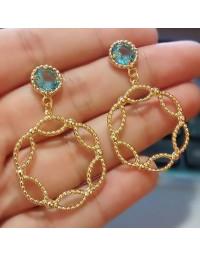 Brincos de Pedra Azul Banhados a Ouro 18k