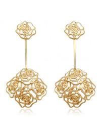 Maxi Brincos Palitos com Rosas Banhados a Ouro 18k