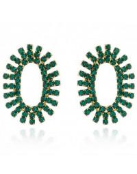 Brincos de Festa com Pedra Verde Folheados a Ouro 18k