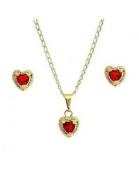Brincos e Gargantilha de Coração Vermelho Banhados a Ouro 18k