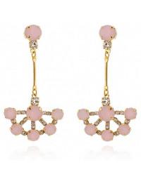 Brincos de Pedras Rosa Quartzo Banhados a Ouro 18k