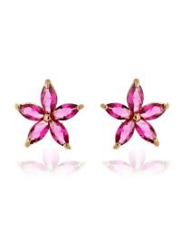 Brincos Pequenos de Florzinha Rosa Rubelita Banhados a Ouro 18k