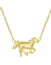 Gargantilha com Pingente de Cavalo Banhada a Ouro 18k