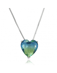 Colar de Coração Cristal Bicolor Azul e Verde Folheado a Ródio
