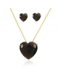 Colar de Coração com Brincos Calcedônia Gray Folheados a Ouro 18k