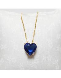 Colar de Coração Azul Bic Folheado a Ouro 18k