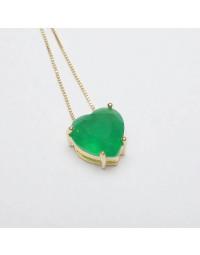 Colar de Coração com Pedra Verde Banhado a Ouro 18k