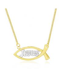 Colar com Pingente Jesus Folheado a Ouro 18k