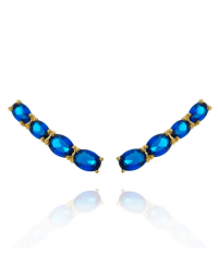 Brincos Ear Cuff com Pedras Azuis Banhados a Ouro 18k