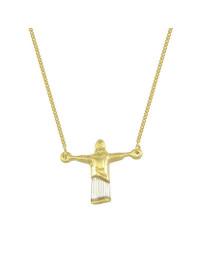 Gargantilha Folheada a Ouro com Pingente de Cristo Redentor