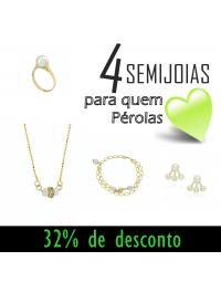 Kit de Semijoias de Pérolas Folheadas a Ouro 18k