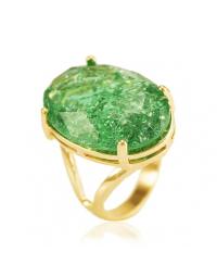 Maxi Anel com Pedra Verde Fusion Folheado a Ouro 18k (Tam 14)