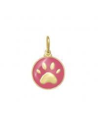 Pingente Pata de Cachorro Rosa Banhado a Ouro 18k